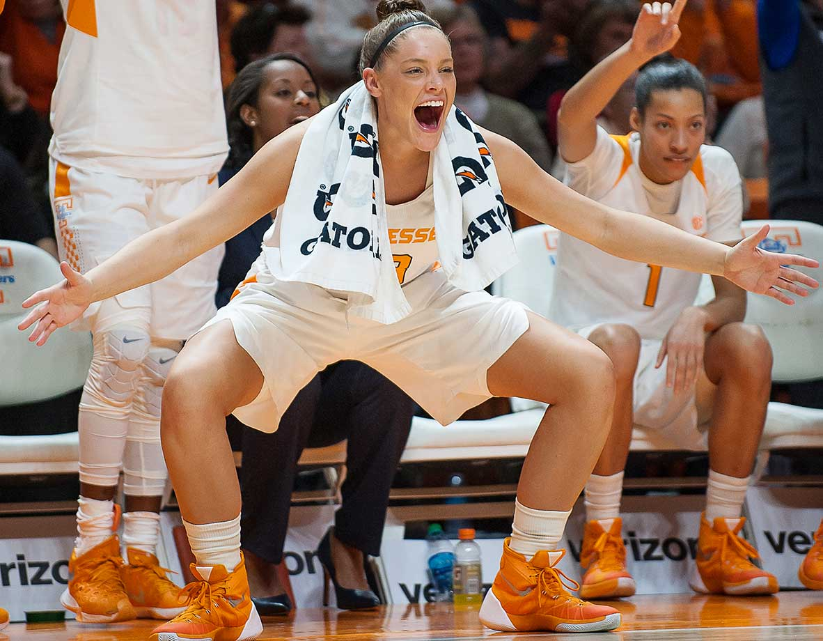 Tennessee's Kortney Dunbar cheers on her team during a game against South Carolina. The Lady Vols lost 62-56.