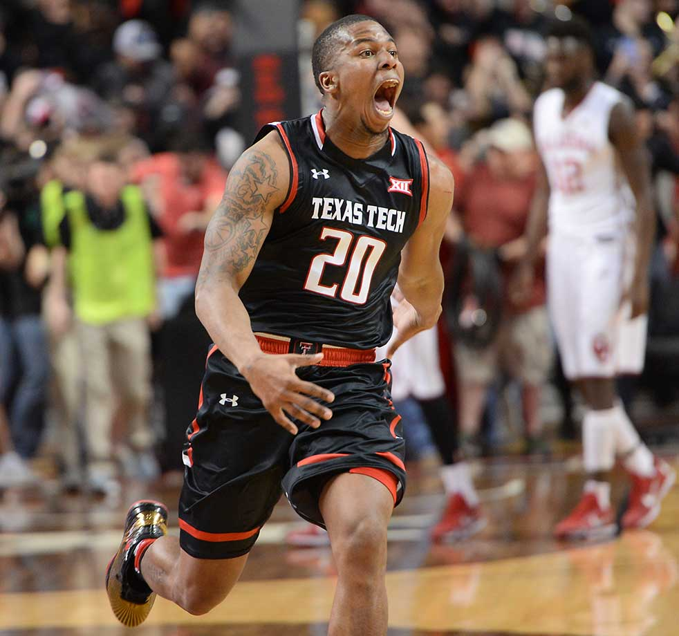 Toddrick Gotcher of Texas Tech reacts after the Red Raiders knocked off No. 3 Oklahoma 65-63.