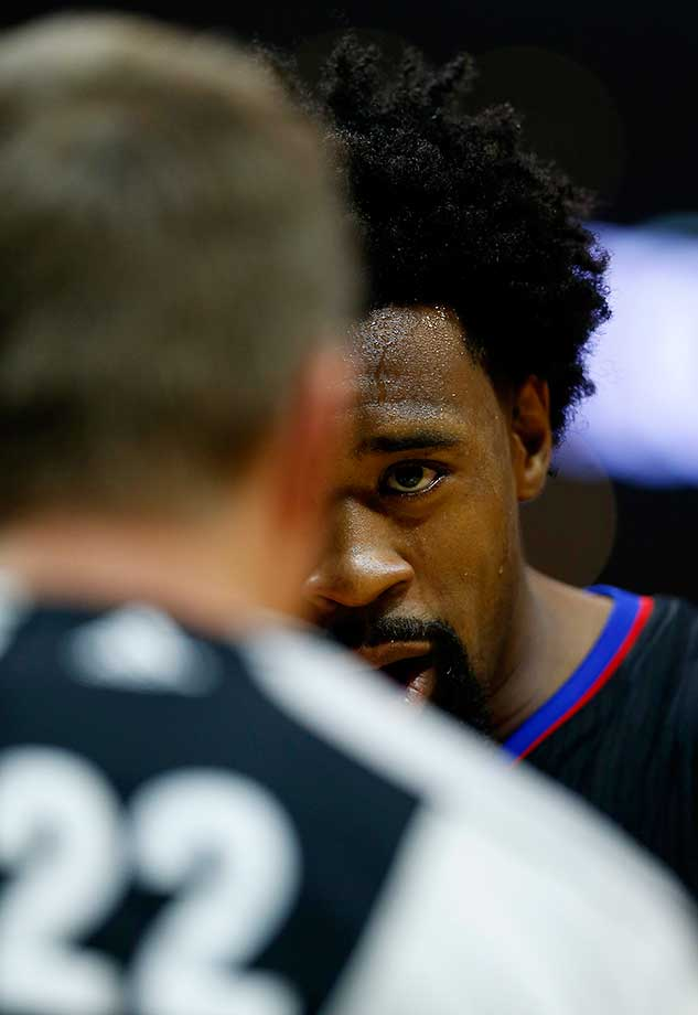 DeAndre Jordan of the Los Angeles Clippers stares down referee Bill Spooner.