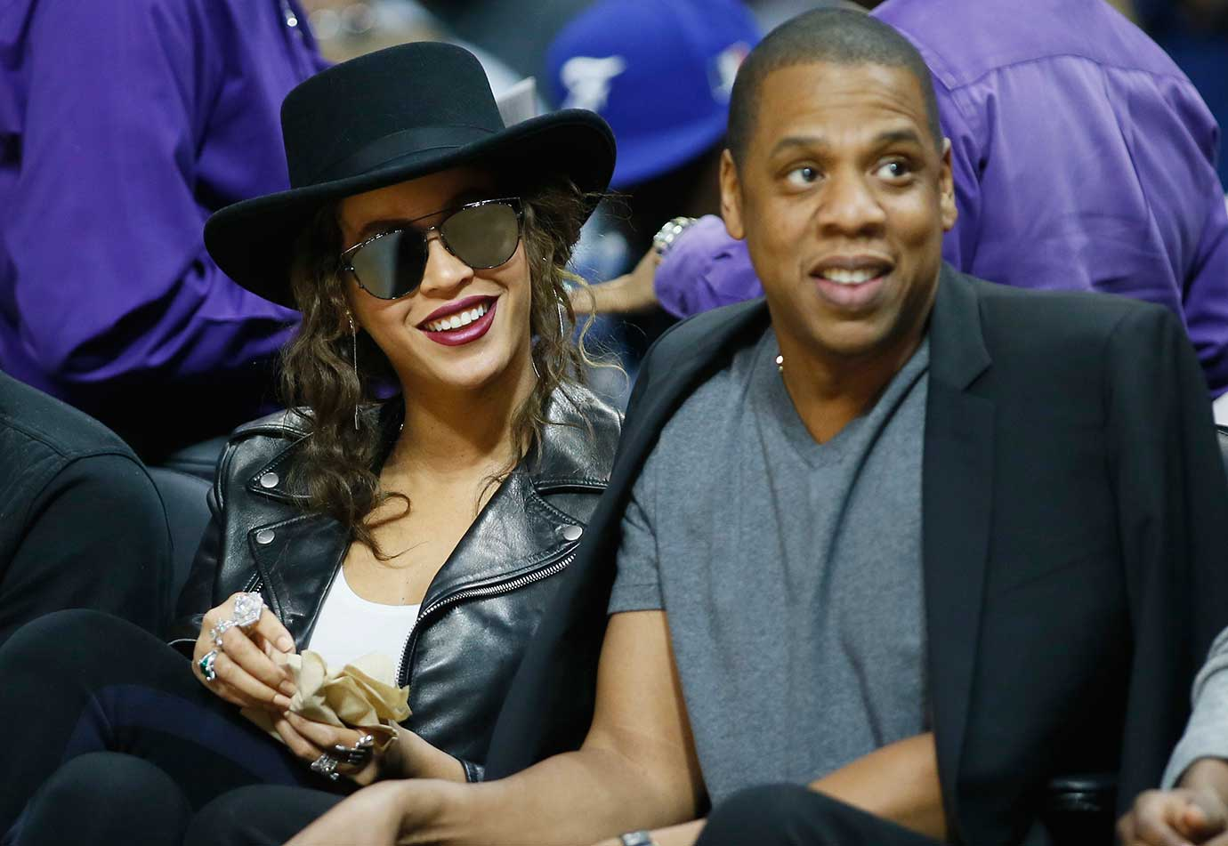 Beyonce and Jay Z at the Los Angeles Clippers-Golden State Warriors game in Los Angeles.