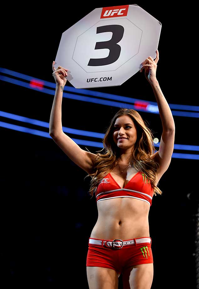 UFC Octagon Girl Vanessa Hanson introduces the third round during UFC Fight Night in Pittsburgh.