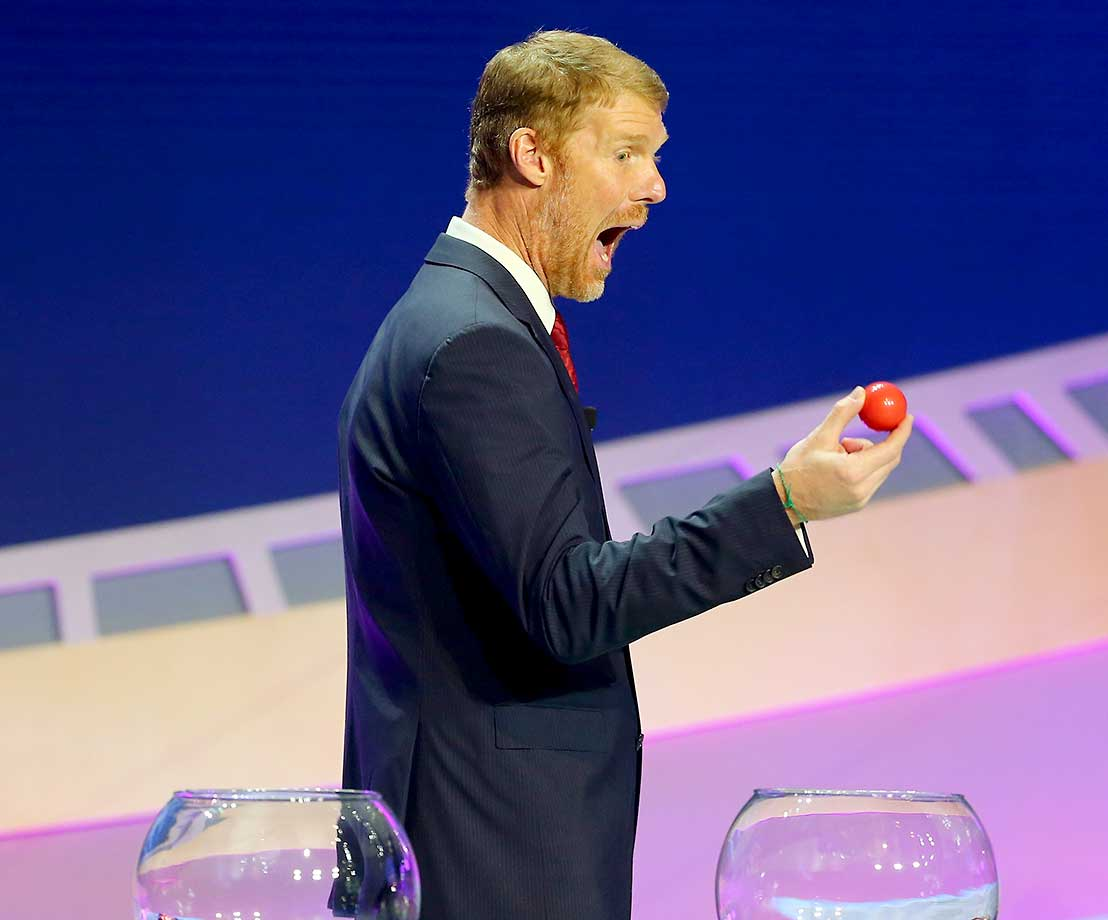 Alexi Lalas reacts after drawing the first ball of the night during the 2016 Copa America Centenario Draw Ceremony.