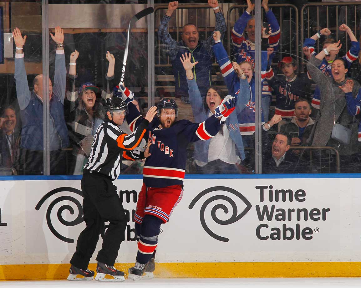 Kevin Klein of the New York Rangers reacts after scoring the game-winning goal in overtime against Detroit.