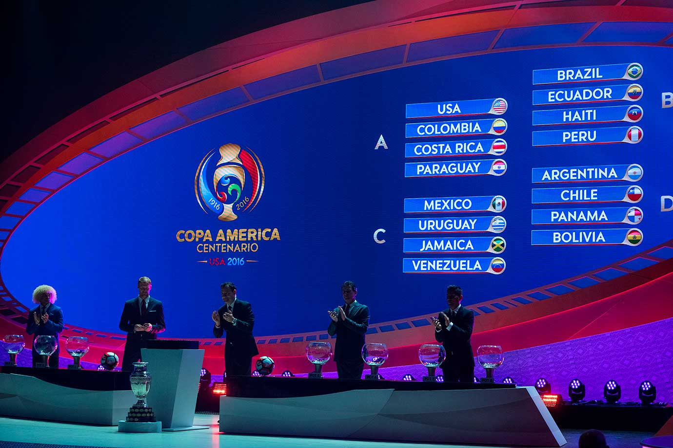 The view at the completion of the official 2016 Copa Centenario Official Draw in New York.