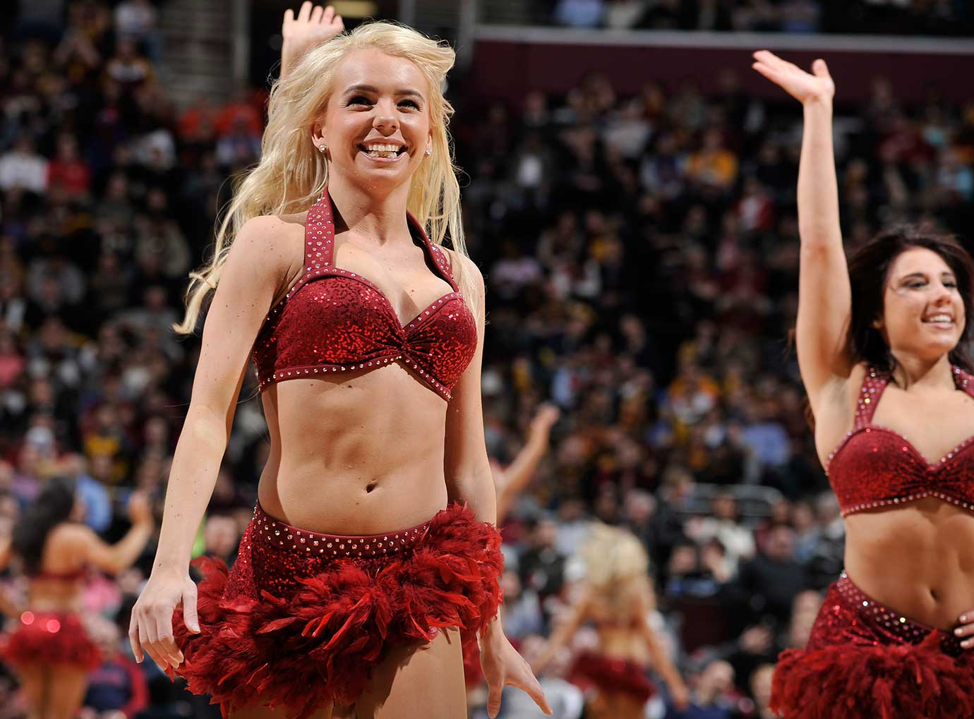The Cleveland Cavaliers dance team during the game against the Detroit Pistons.