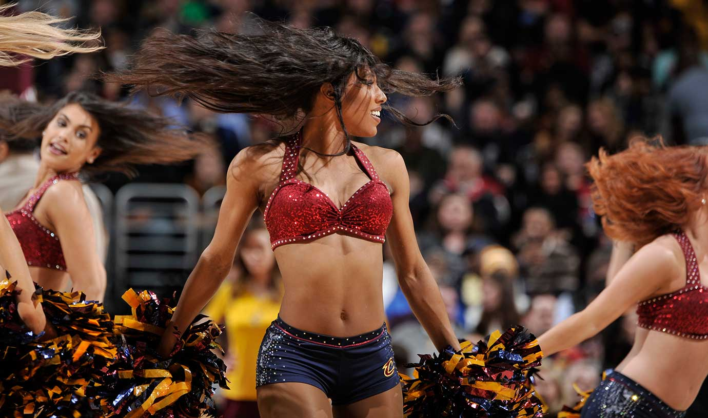 Dancers perform during the the Charlotte Hornets game at the Cleveland Cavaliers.