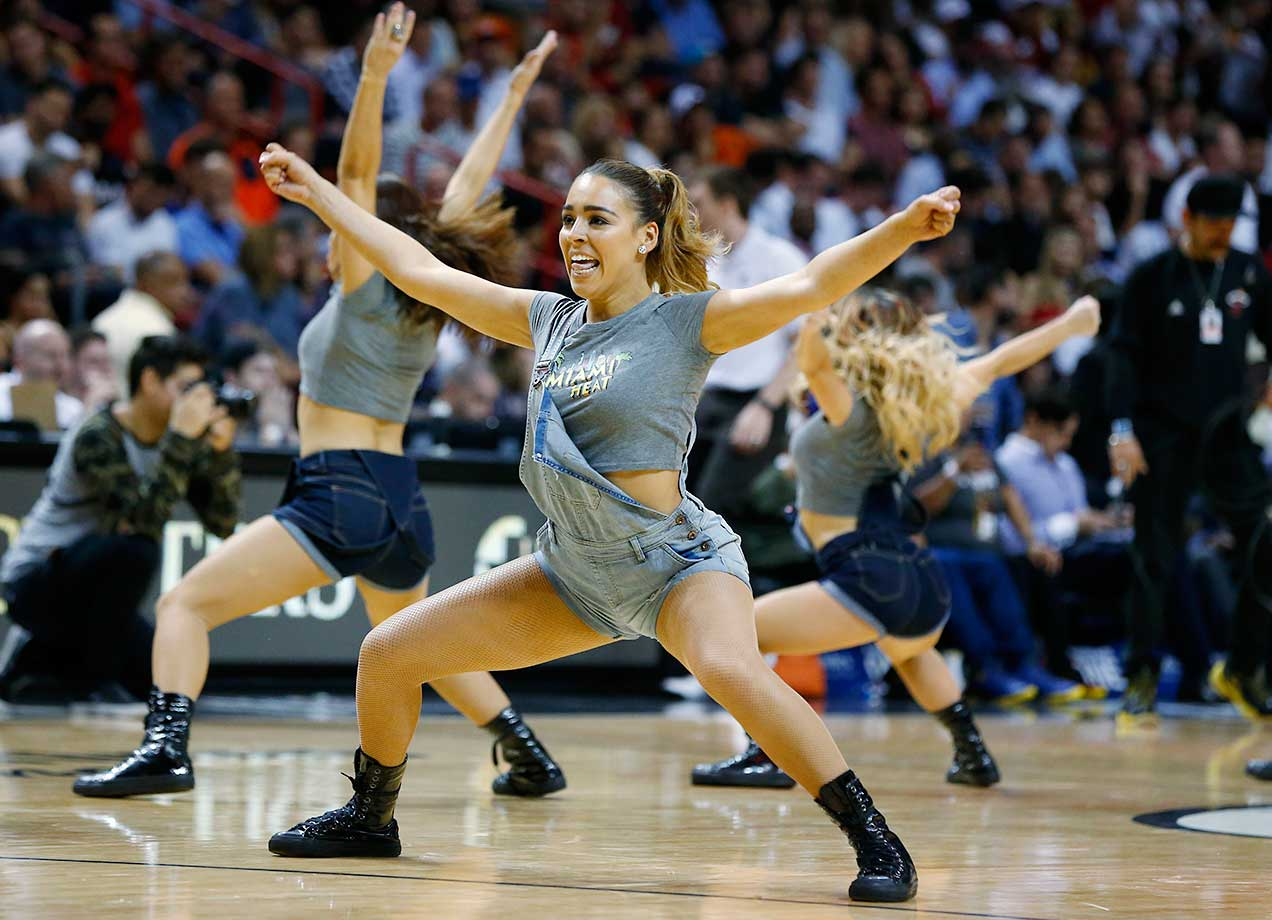 Miami Heat Dancers perform at the Miami-Golden State game.