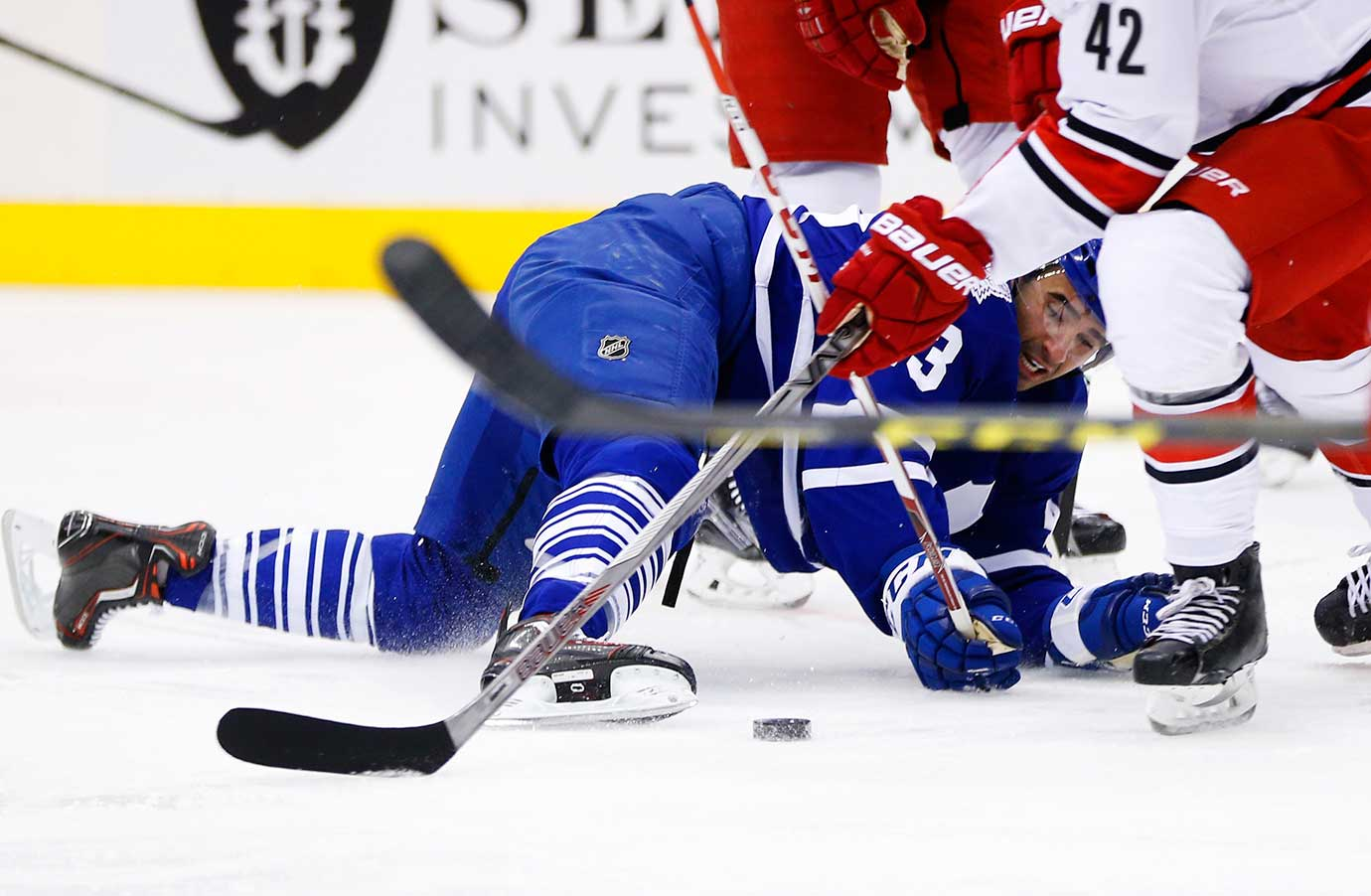 Nazem Kadri (43) of Toronto tries to get at the puck in a game against the Carolina Hurricanes.