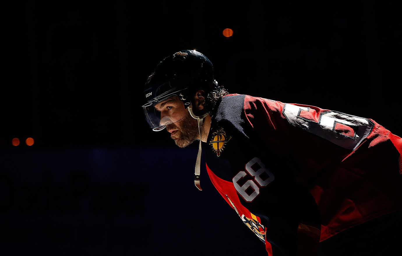 Jaromir Jagr of the Florida Panthers skates on the ice prior a game against Arizona.