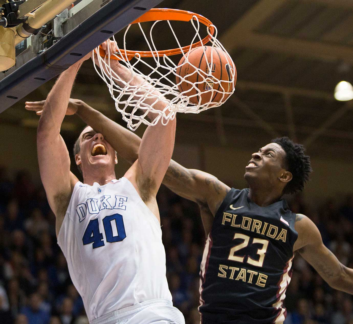 Duke's Marshall Plumlee dunks against Florida State's Jarquez Smith.