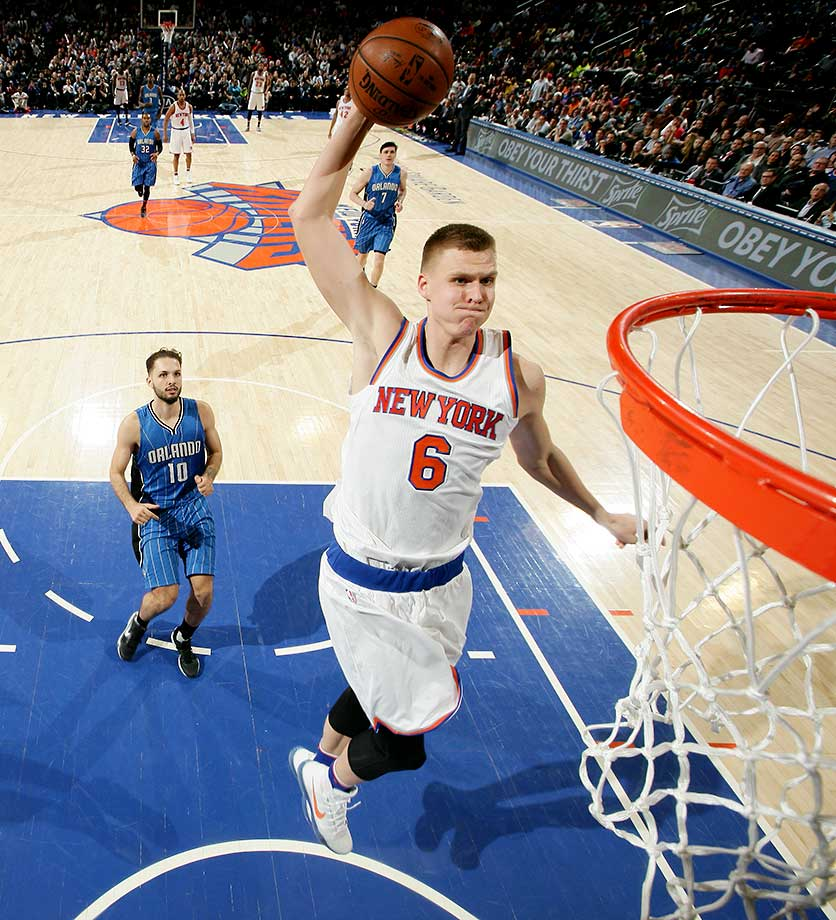 Kristaps Porzingis of the New York Knicks goes for the dunk.