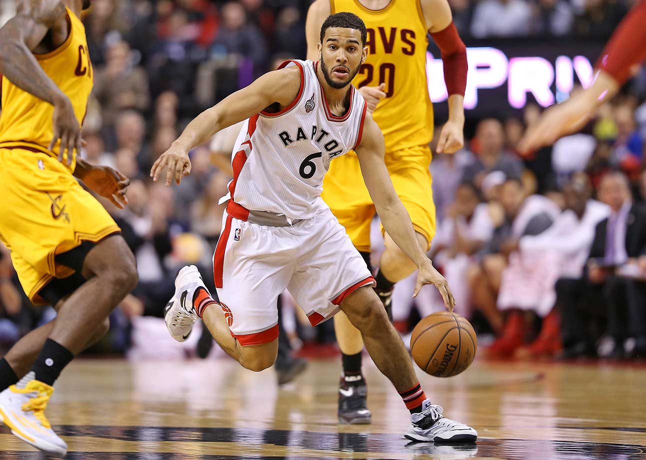 Cory Joseph of the Toronto Raptors drives with the ball against the Cleveland Cavaliers.