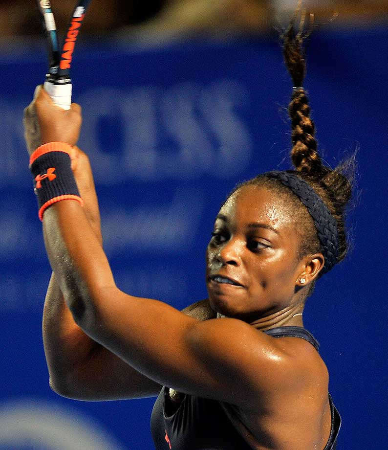 Sloane Stephens returns the ball to Yanina Wickmayer during their Mexico Open semifinal in Acapulco.