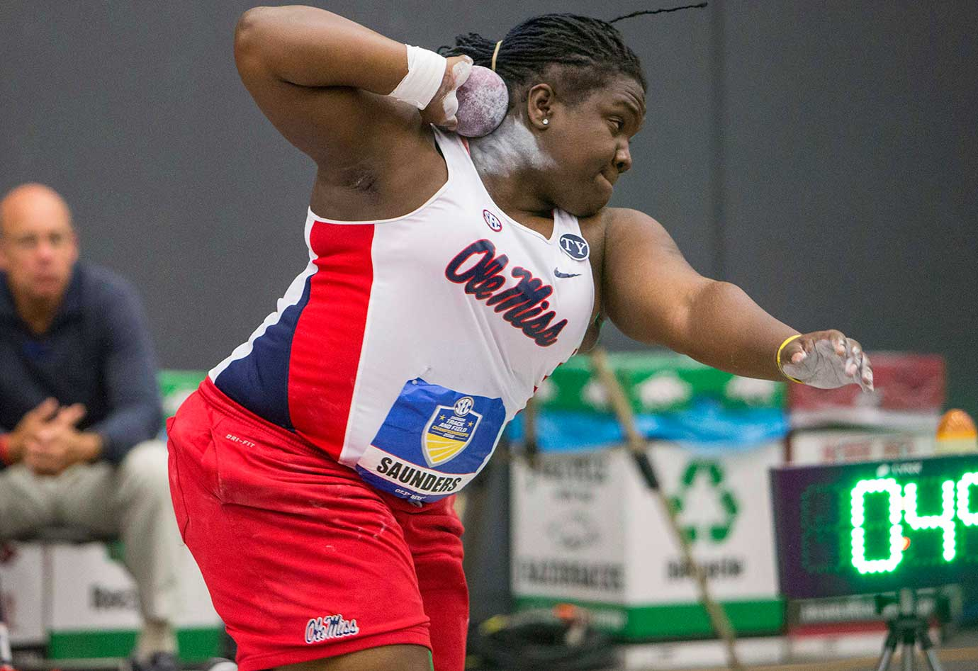Mississippi's Raven Saunders prepares to throw the shot put during the SEC indoor track and field championships.