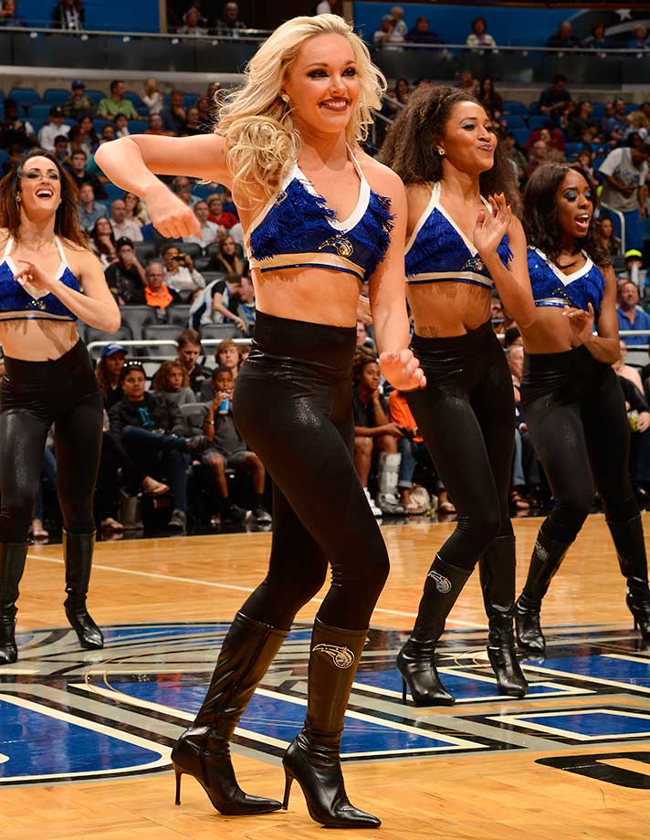The Orlando Magic dance team before the game against the Philadelphia 76ers.