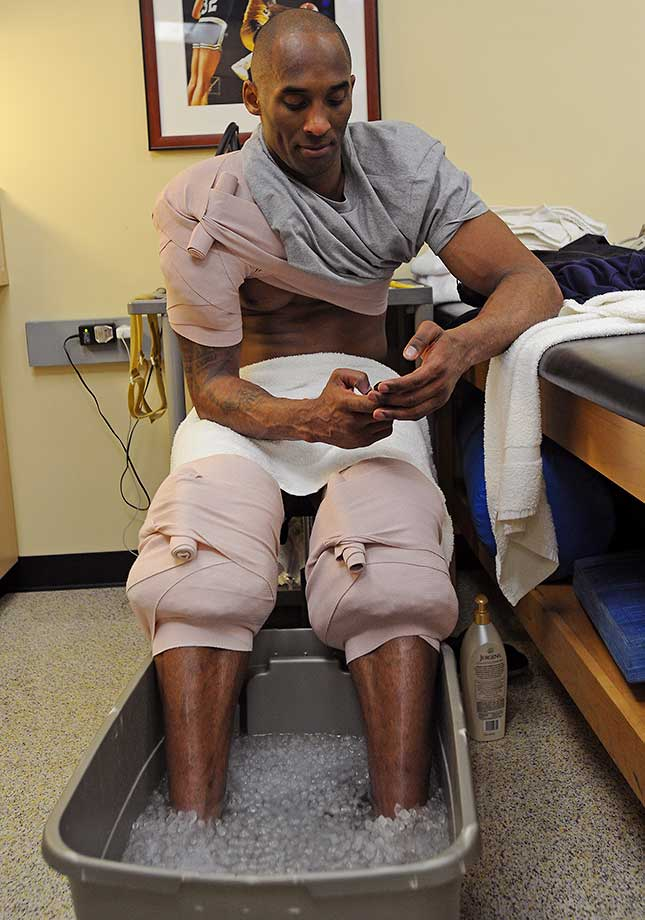 Kobe Bryant gets treatment after the Feb. 2 game against the Minnesota Timberwolves.