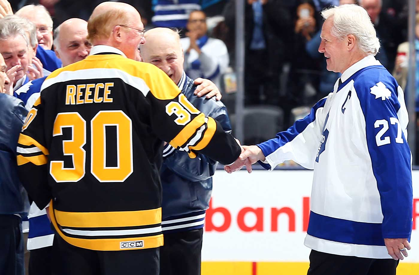 Former Toronto Maple Leaf Darryl Sittler shakes hands with former Boston Bruin Dave Reece during an on ice ceremony to commemorate Darryl Sittlers 10-point night. The ceremony was held before action between the Toronto Maple Leafs and the New Jersey Devils during at Air Canada Centre in Toronto.
