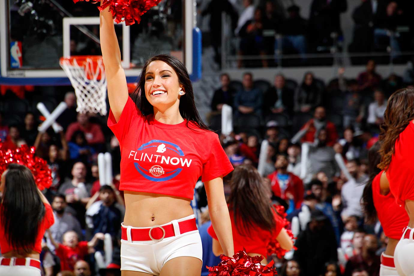 The Detroit Pistons dance team is seen during the game against the New York Knicks.