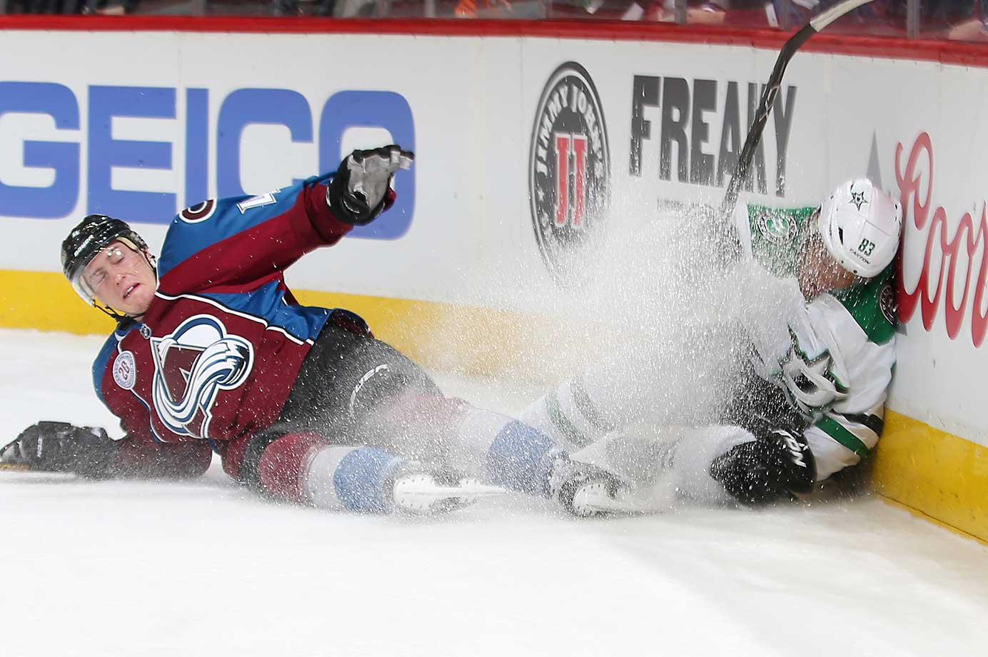 Ales Hemsky of the Dallas Stars falls to the ice after a goal against the Colorado Avalanche at the Pepsi Center in Colorado.