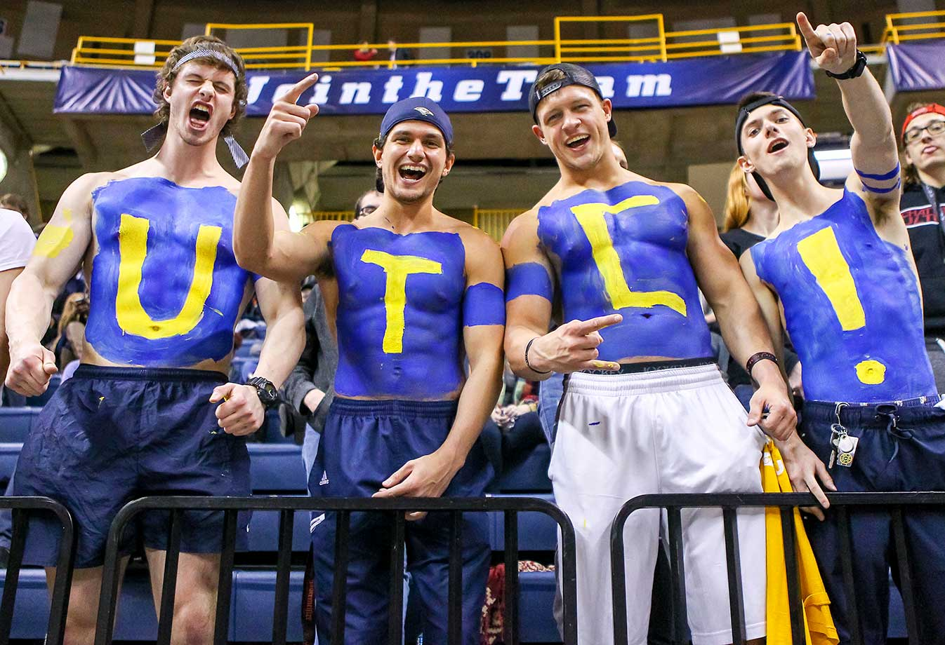 Chattanooga Mocs super fans cheer during the game against Wofford at McKenize Arena in Tenn. . Chattanooga won 79-63.