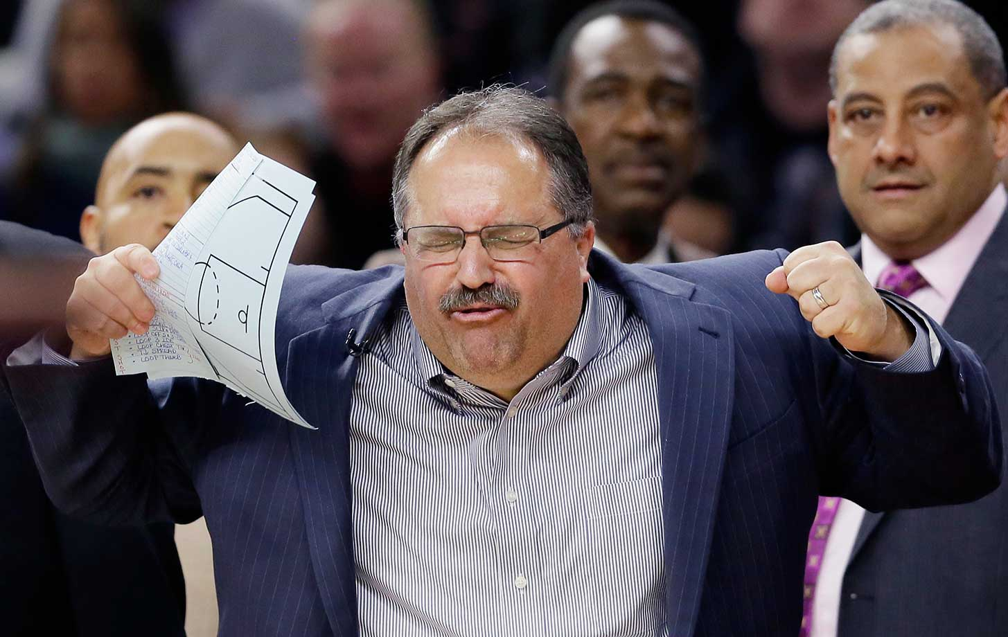Detroit Pistons head coach Stan Van Gundy reacts after a call against the New York Knicks.