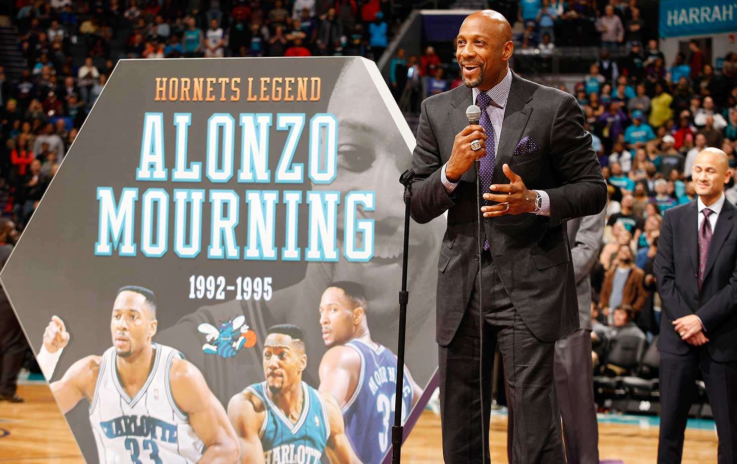 Former Charlotte Hornet Alonzo Mourning was honored at halftime of Friday night's game at the Time Warner Cable Arena in North Carolina.