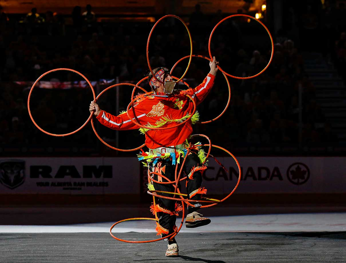 A hoop dancer delights the crowd on Western Night as the Calgary Flames faced off against the Columbus Blue Jackets at Scotiabank Saddledome.