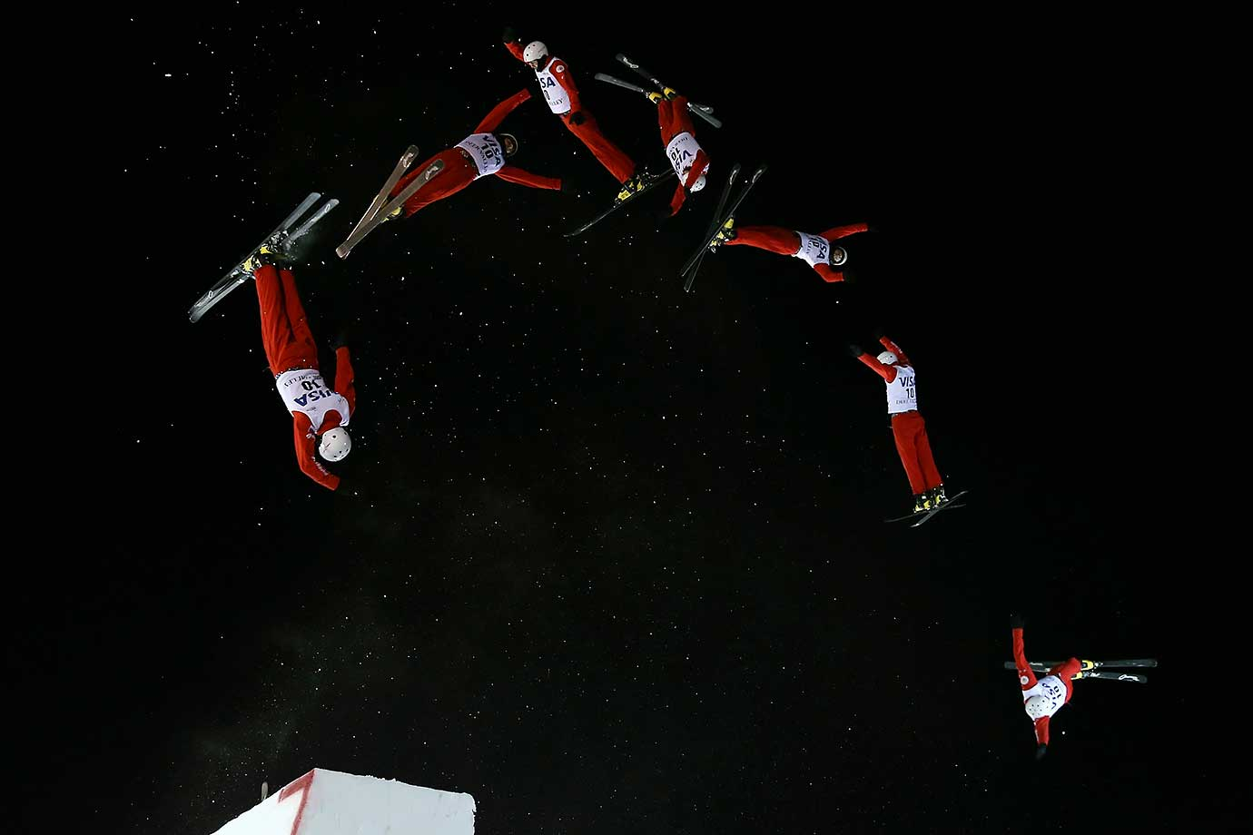 Multiple exposures were combined in camera to produce this image of Petr Medulich of Russia jumping to first place in the FIS Freestyle Skiing Aerials World Cup in Park City, Utah.
