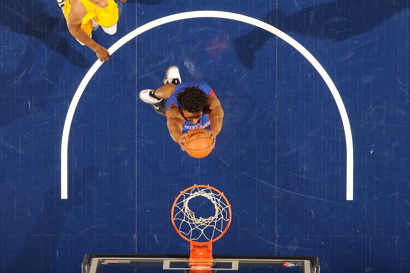 Stanley Johnson of the Detroit Pistons goes up for a dunk against the Indiana Pacers.