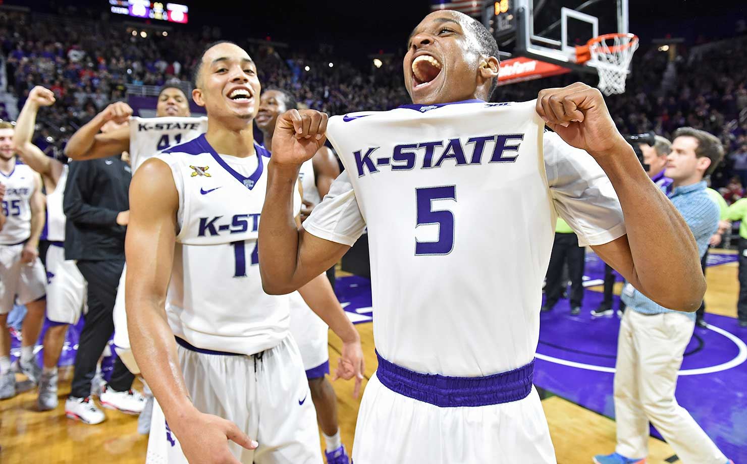Berry Brown and Justin Edwards of Kansas State after defeating No. 1 ranked Oklahoma 80-69.
