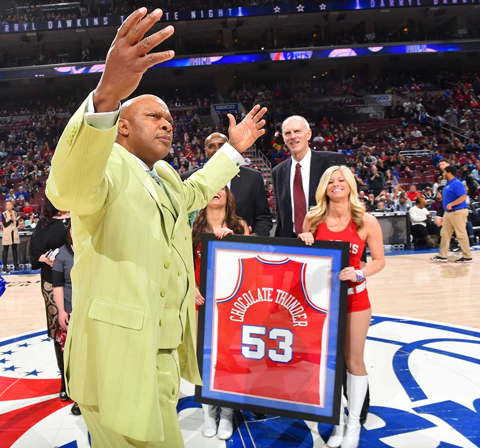 NBA Legends World B Free and Bobby Jones of the 76ers pay tribute to the late Darryl Dawkins.
