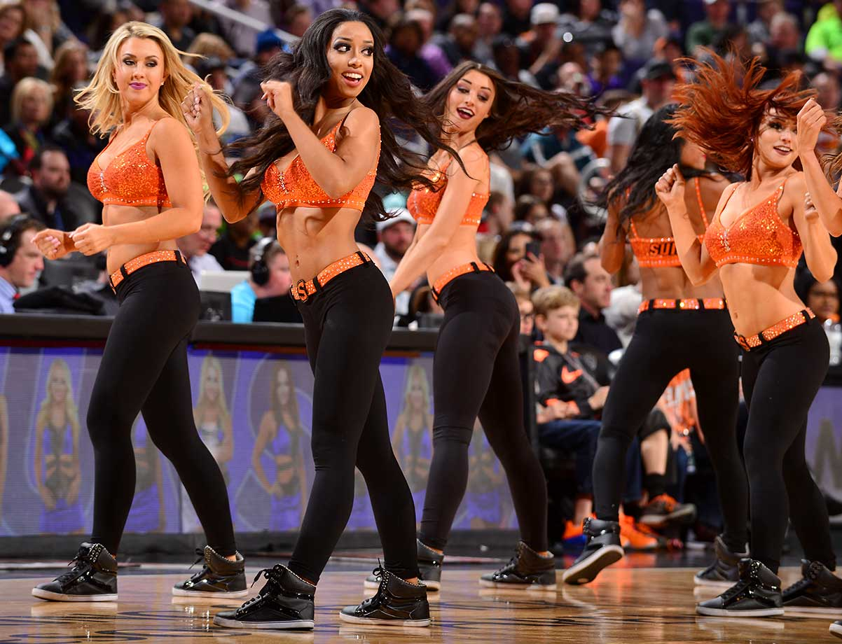 Dancers perform during the game between the Utah Jazz and Phoenix Suns in Arizona.