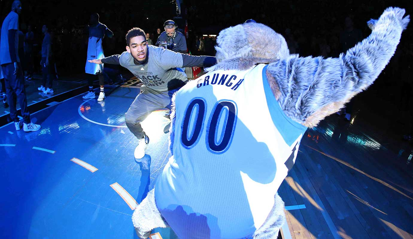 Karl-Anthony Towns of the Minnesota Timberwolves is introduced before the game against the New Orleans Pelicans.