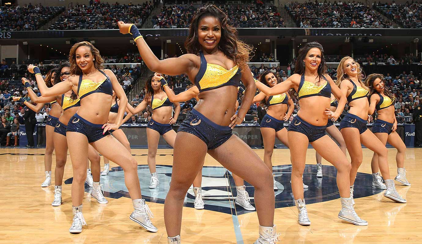 The Memphis Grizzlies dance team performs during the game against the Portland Trail Blazers.