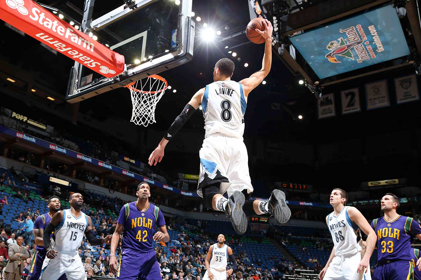 Zach LaVine of the Timberwolves goes for the dunk against the New Orleans Pelicans.