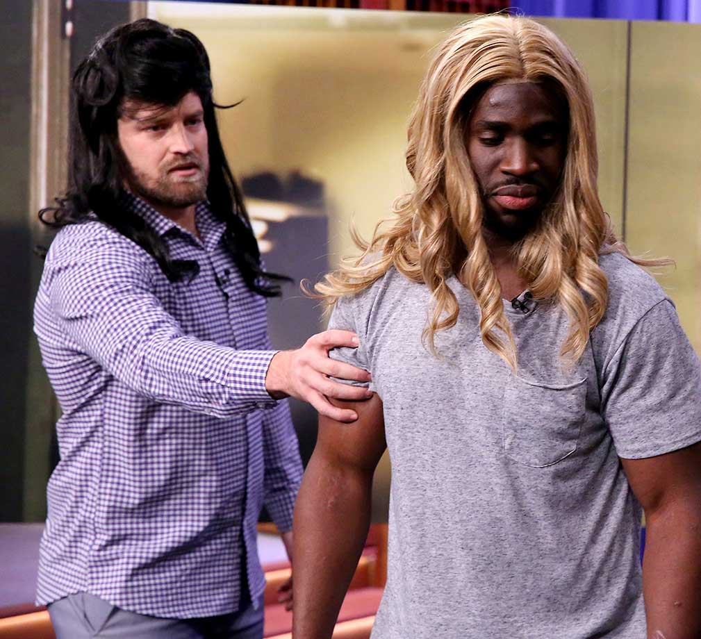 Pro football players Ryan Fitzpatrick and Prince Amukamara during a 'Suggestion Box' sketch on The Tonight Show Starring Jimmy Fallon.