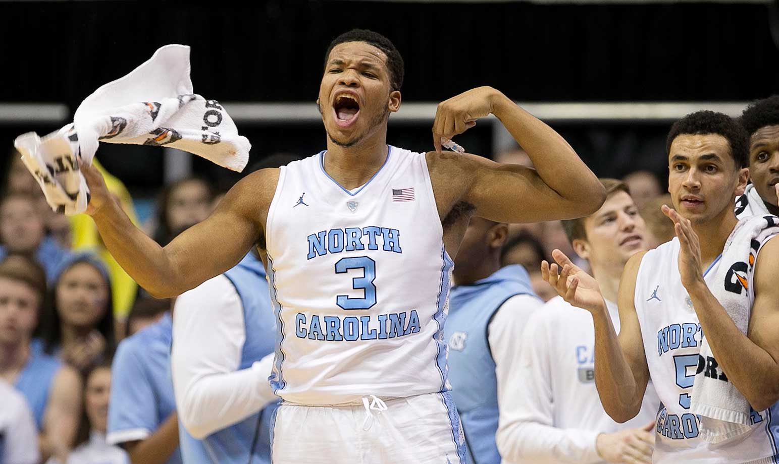 North Carolina's Kennedy Meeks reacts to a 13-point first-half lead against Wake Forest.
