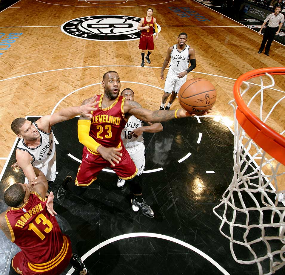 LeBron James of the Cleveland Cavaliers shoots the ball against the Brooklyn Nets at Barclays Center in Brooklyn.
