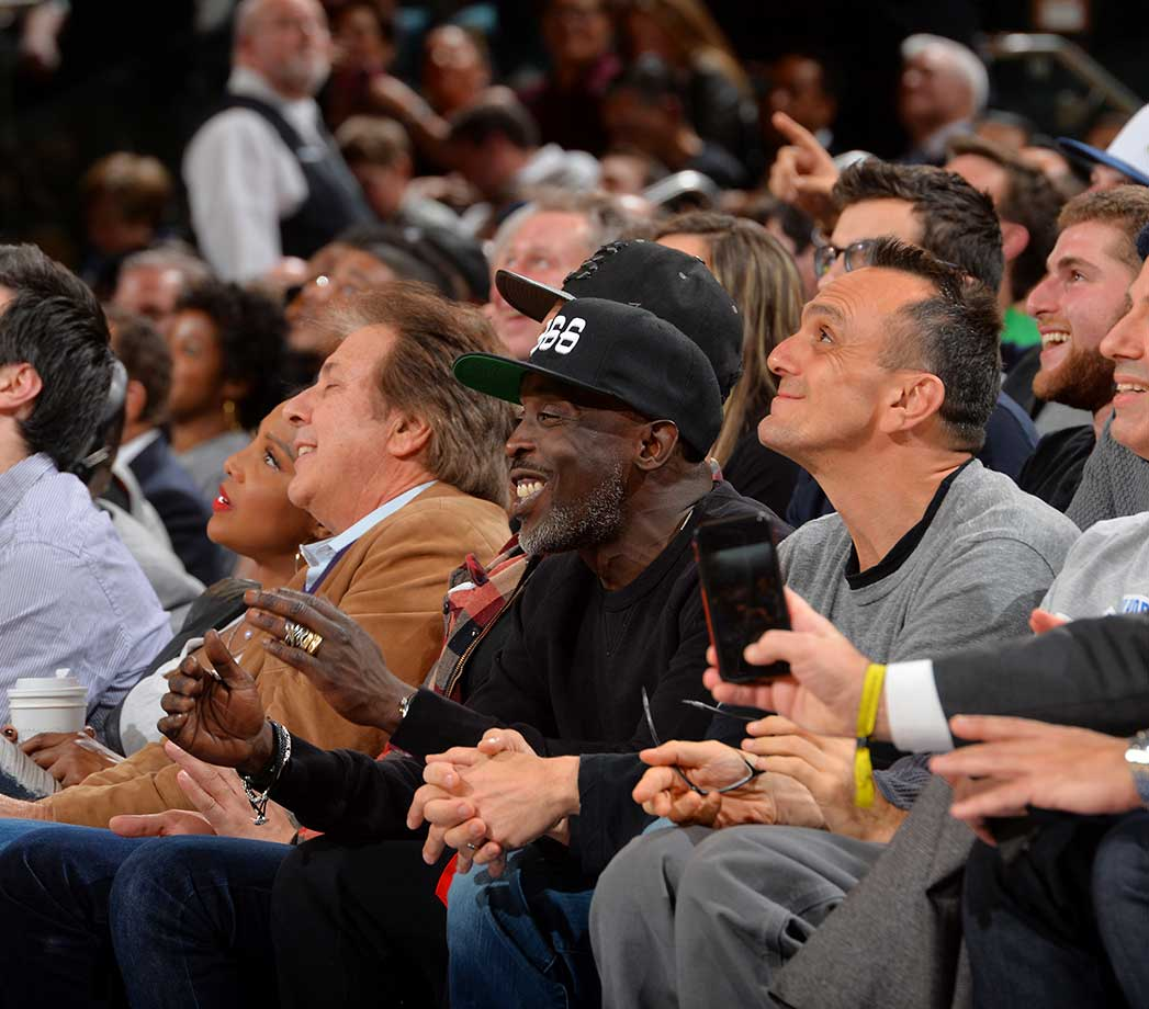 Actor Michael Kenneth Williams looks on during the New York Knicks against the Utah Jazz at Madison Square Garden.
