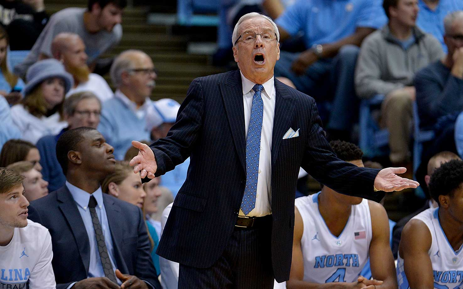 Head coach Roy Williams of the North Carolina Tar Heels  questions a call by the officials during an 83-68 victory over Wake Forest at the Dean Smith Center.