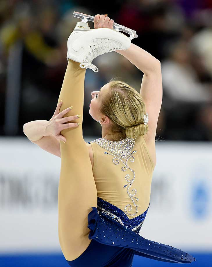 Tyler Pierce competes in the Ladies' Short Program at the 2016 Prudential U.S. Figure Skating Championship .