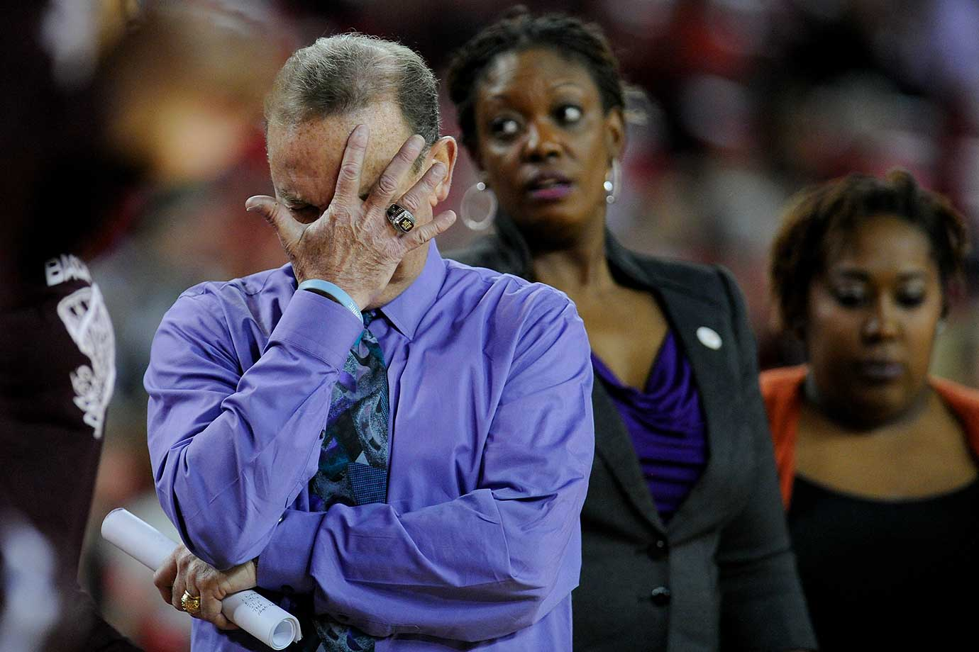 Mississippi State head coach Vic Schaefer reacts during a timeout in a 47-43 loss to Georgia in Athens.