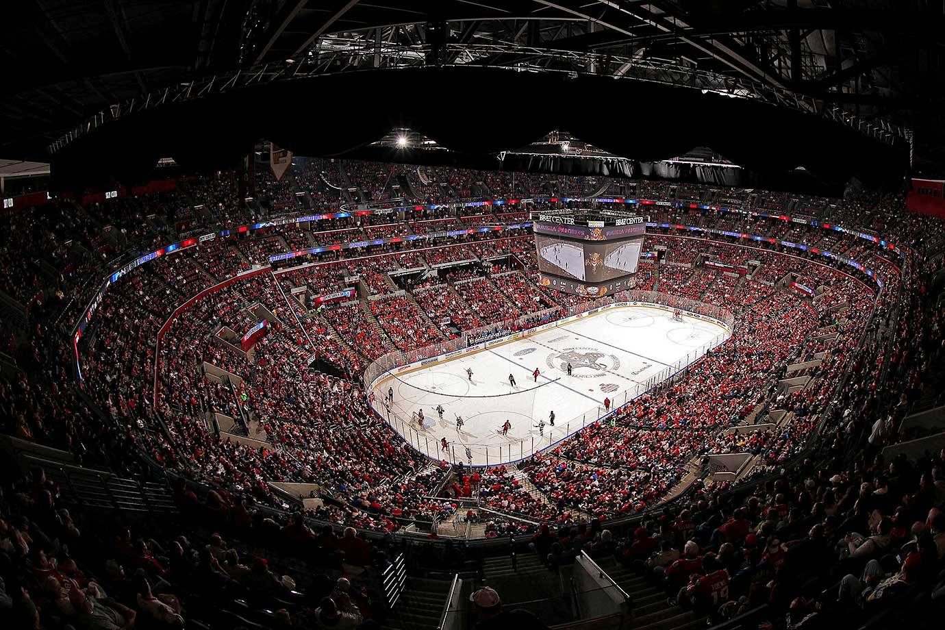 A sold out crowd watches the Florida Panthers battle the Chicago Blackhawks at the BB&T Center in Sunrise, Fla.