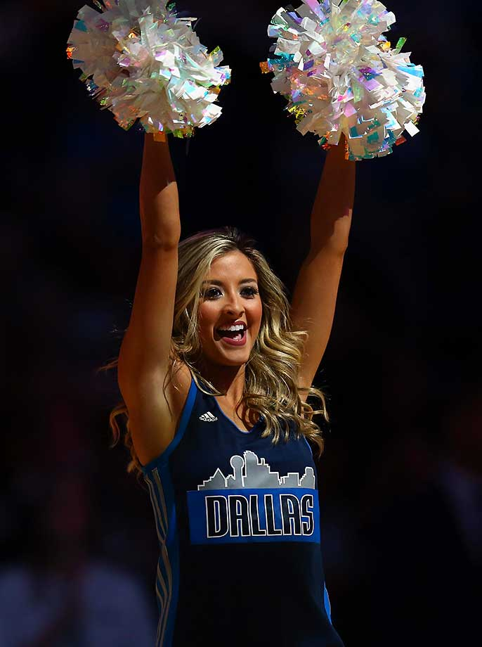 Sydney Durso of the Dallas Mavericks dancers performs at American Airlines Center in Dallas.