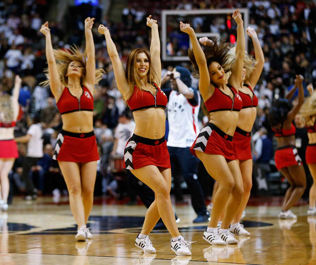 Members of the Toronto Raptors Dance Pak dance during a break in their team's game against the Miami Heat at the Air Canada Centre in Ontario.