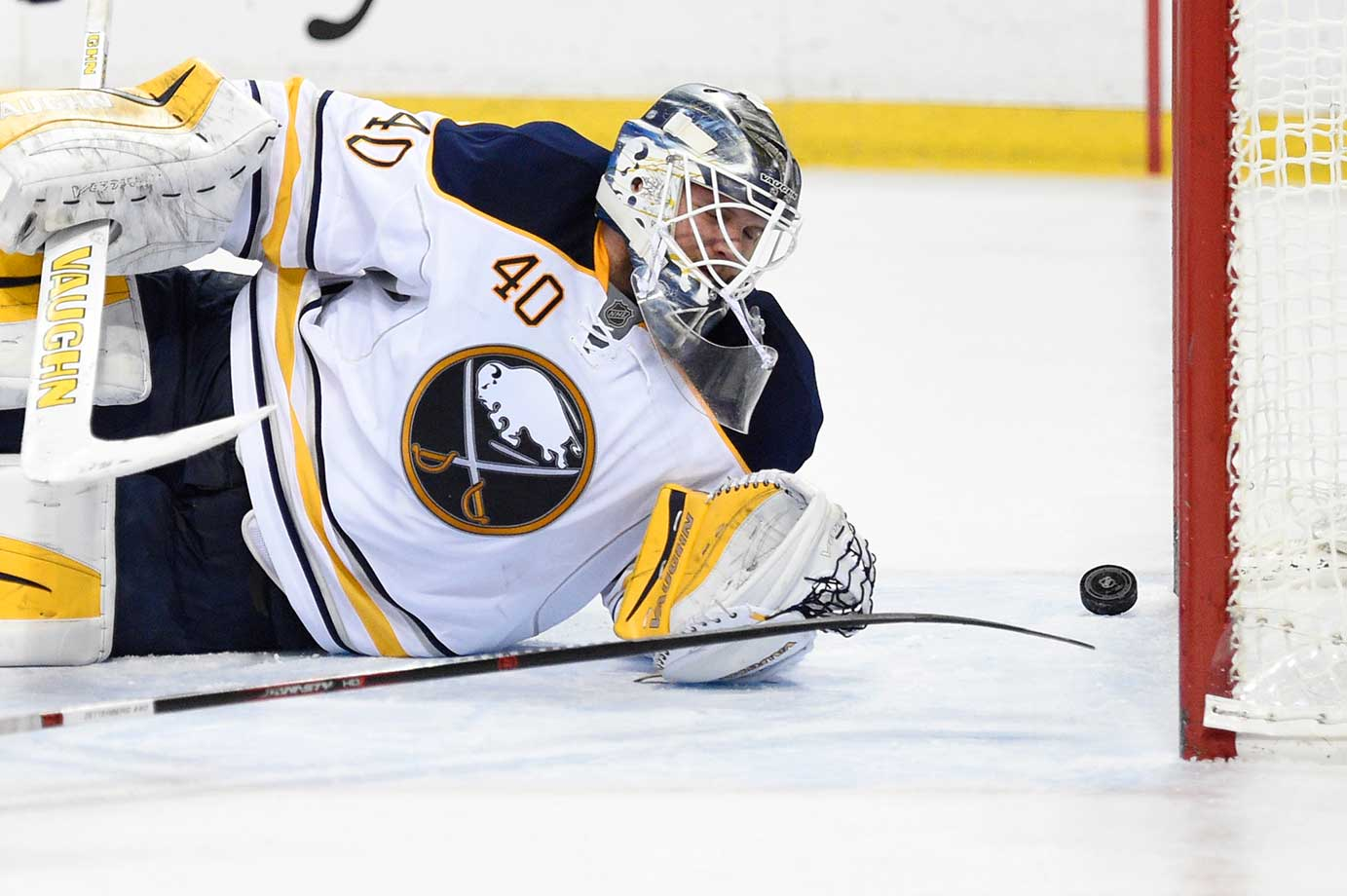 Robin Lehner of the Buffalo Sabres watches the puck go into the goal during the game against the Detroit Red Wings.