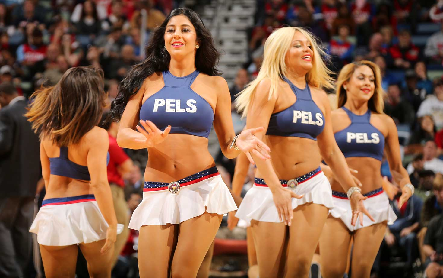 Dancers perform during the game between the Houston Rockets and New Orleans Pelicansat the Smoothie King Center in New Orleans.