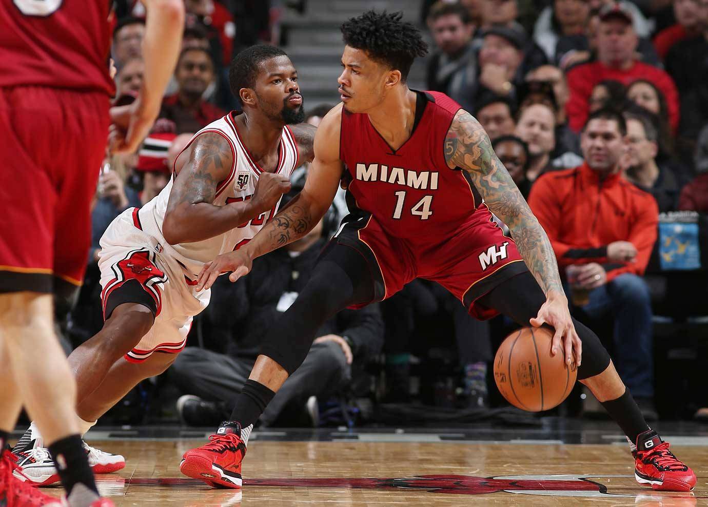 Gerald Green of the Miami Heat defends the ball against the Chicago Bulls at United Center in Chicago.