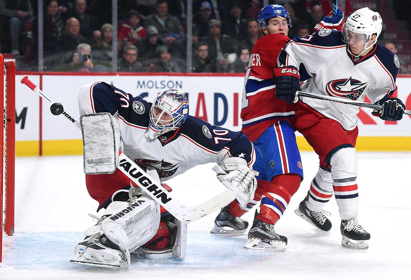 Joonas Korpisalo of the Columbus Blue Jackets blocks a shotat the Bell Centre in Montreal. (