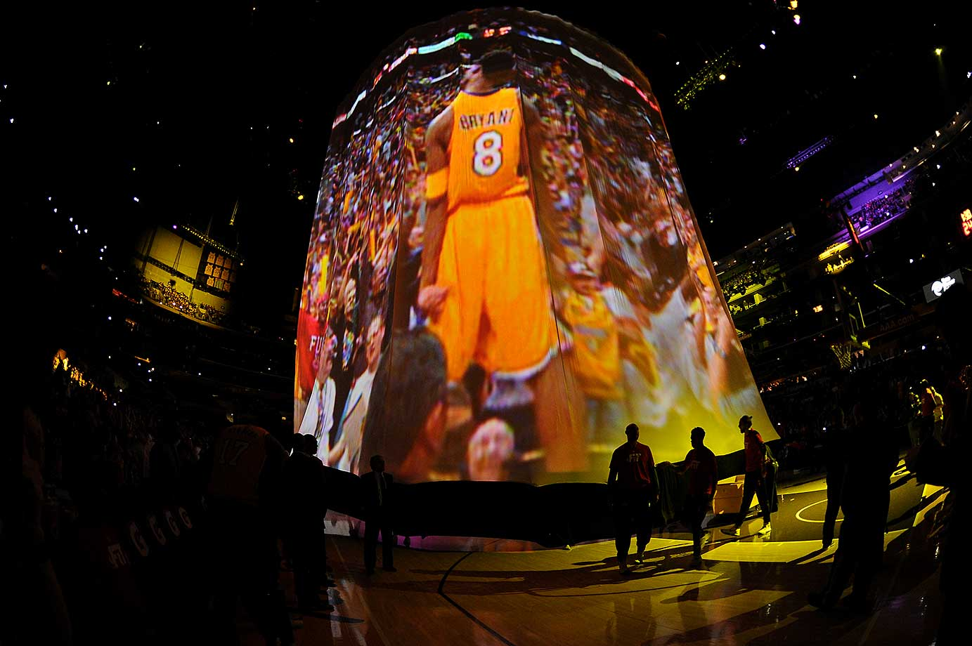 The Los Angeles Lakers are introduced before the game against the Dallas Mavericks in Los Angeles